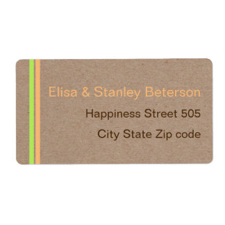 Moder stripes minimalist rustic wedding label