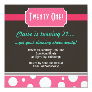 Moder Twenty First Bithday Party Personalized Invites
