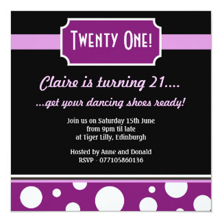 Moder Twenty First Bithday Party Personalized Invitations