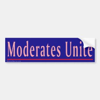 Moderates Unite Car Bumper Sticker