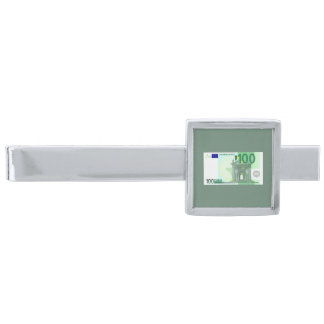 Modern 100 Euro Currency Money Note Silver Finish Tie Clip