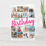 """Modern 16 Photo   Any Age Happy Birthday Card<br><div class=""""desc"""">Have fun creating your very own photo collage birthday card by using this Modern Happy Birthday card template. Featuring a photo collage of 16 square photographs, which can easily be downloaded from your phone or computer. Personalize by customizing the name and message. Text font color can be changed to any...</div>"""