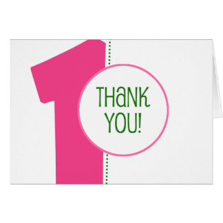 Modern 1st Birthday Thank You Notes-Pink/Green Card