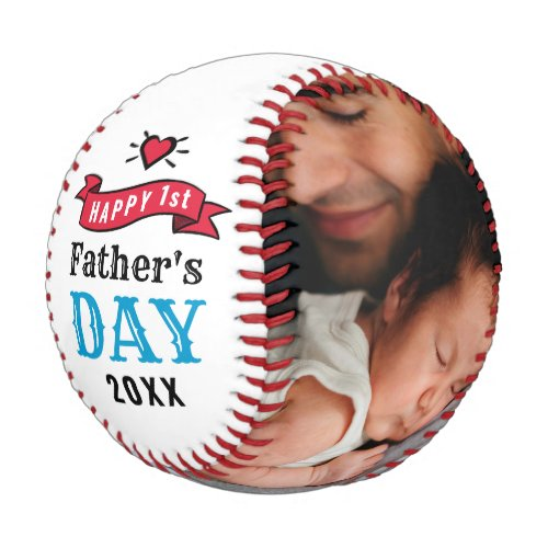 Modern 1st Fathers Day Baby Photo Typography Baseball