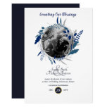 Modern 1st Wedding Anniversary PHOTO Blue Wreath Invitation