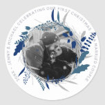 MODERN 1st YEAR Engaged or Married PHOTO Party Classic Round Sticker