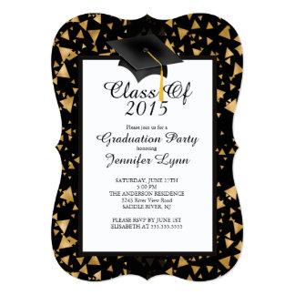 "Modern 2015 Gold Black Graduation Party Invitation 5"" X 7"" Invitation Card"