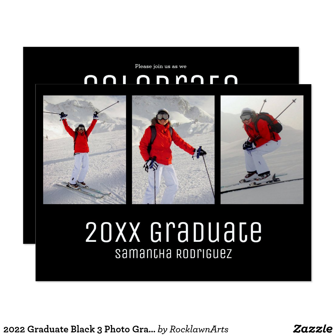 Modern 2018 Graduate 3 Photo Graduation Invitation