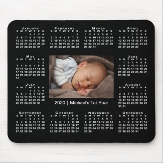 Modern 2020 Calendar Your Photo and Name on Black Mouse Pad