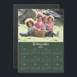 """Modern 2021 Customizable Family Name Photo<br><div class=""""desc"""">2021 Customizable Family Name and Photo Magnetic Calendar featuring your personalized horizontal photo and name on a green background. Designed for 2021,  and perfect for small gifts,  stocking stuffers,  or in place of holiday cards! Please contact us at cedarandstring@gmail.com if you need assistance with the design or matching products.</div>"""