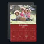 """Modern 2021 Customizable Family Name Photo<br><div class=""""desc"""">2021 Customizable Family Name and Photo Magnetic Calendar featuring your personalized horizontal photo and name on a red background. Designed for 2021,  and perfect for small gifts,  stocking stuffers,  or in place of holiday cards! Please contact us at cedarandstring@gmail.com if you need assistance with the design or matching products.</div>"""