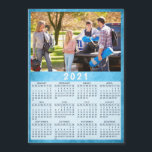 """Modern 2021 Magnet Calendar Photo Family<br><div class=""""desc"""">This 2021 family magnet photo calendar with a blue background is easy to customize with a personal picture by using the template. It's easy to customize to make unique, useful gifts for the family, couples, grandparents, friends, workmates, and colleagues. It's perfect for Christmas, New Year, Thanksgiving Day, or as a...</div>"""