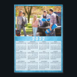 """Modern 2022 Fridge Magnet Calendar Family Photo<br><div class=""""desc"""">This 2022 family photo calendar magnet with a blue background is easy to customize with your personal picture by using the template. Make your own calendar a practical gift for family, couples, grandparents, friends, workmates, or colleagues. It's perfect for Christmas, New Year, Thanksgiving Day, or as a keepsake to your...</div>"""