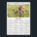 """Modern 2022 Magnetic Photo Calendar Black White<br><div class=""""desc"""">This modern minimalist style 2022 magnetic calendar is easy to customize with a personal photo to create a unique keepsake for loved ones. The Black and white design with a colorful picture looks beautiful and clear and is a practical gift idea. Click """"Personalize this template"""" and change the photo to...</div>"""