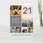 """Modern 21st birthday pink 6 photo collage grid card<br><div class=""""desc"""">Modern simple 21st birthday pink 6 photo collage grid with pastel blush pink and gray editable colors and modern typography.</div>"""