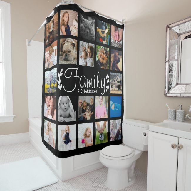 Modern 22 Family Photo Collage & Name Shower Curtain