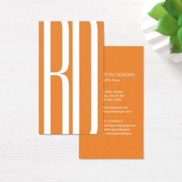 Professional Business Modern 2 Initial Vertical Business Card Orange