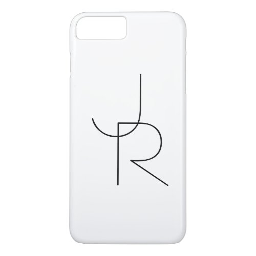 Modern 2 Overlapping Initials  Black on White iPhone 8 Plus7 Plus Case