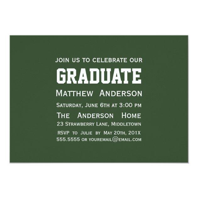 Modern 2 Photo Graduation Invitation - Green (back side)