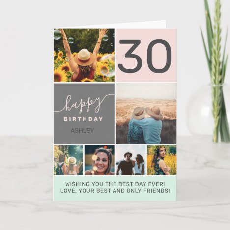 Modern 30 birthday pink 6 photo collage grid card
