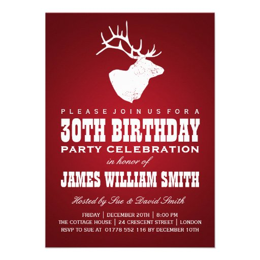 Modern 30th Birthday Party Deer Red Personalized Invite