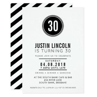 MODERN 30TH birthday party INVITE plain spot black