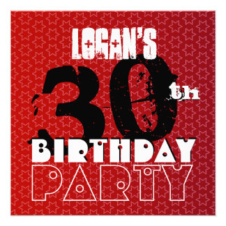 Modern 30th Birthday Party Red Stars W266 Invite