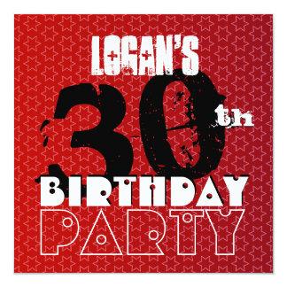 Modern 30th Birthday Party Red Stars W266 Invitation