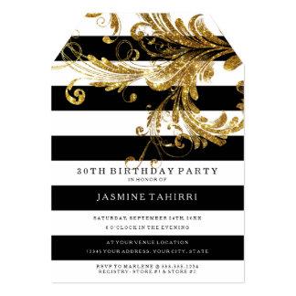 MODERN 30TH Birthday Wide Stripes w Glitter Scroll Card