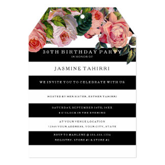MODERN 30TH Birthday Wide Stripes w Vintage Roses Card