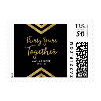 Modern 30th Wedding Anniversary Faux Gold Chevron Postage