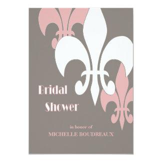 Modern 3 Fleur de Lis Bridal Shower 5x7 Paper Invitation Card