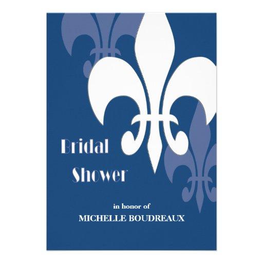 Modern 3 Fleur de Lis Bridal Shower (dark blue) Invite