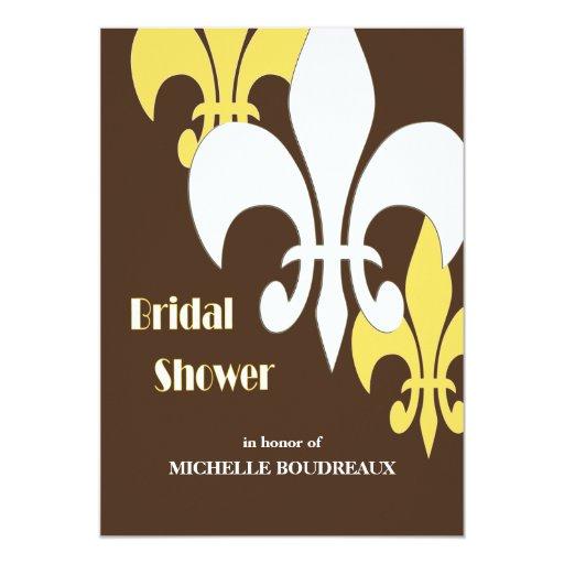 Modern 3 Fleur de Lis Bridal Shower Yellow Brown Announcements