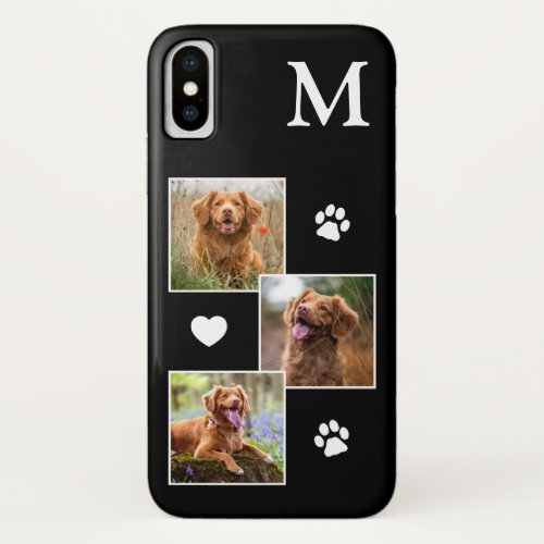 Modern 3 Photo Black Pet Dog Phone Case