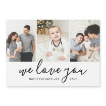 Modern 3 Photo Collage Father's Day Magnetic Card
