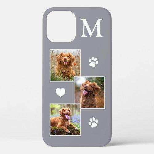Modern 3 Photo Collage Gray Pet Dog Phone Case
