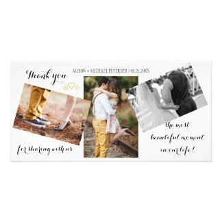 Modern 3 photo collage wedding script thank you card