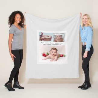 Modern 3 Photo Collage With Text Grandparent Mom Fleece Blanket