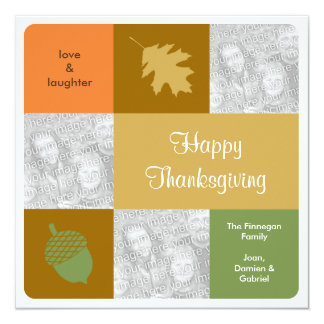 Modern 3 photos Thanksgiving fall greeting card Personalized Announcements