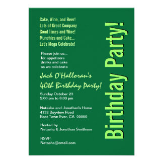 Modern 40th Birthday Party Green Template Personalized Invites