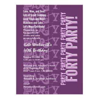 Modern 40th Birthday Purple Grunge LARGE Personalized Invitations
