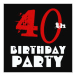 Modern 40th Birthday Red Black White W1071 Invitations