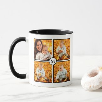 Modern 4 Photo Collage Black Monogram Mug
