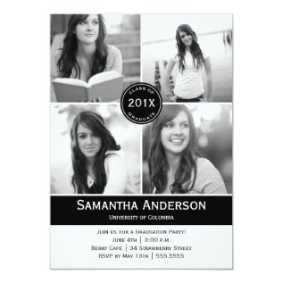 Modern 4 Photo Graduation Invitation - Black at Zazzle