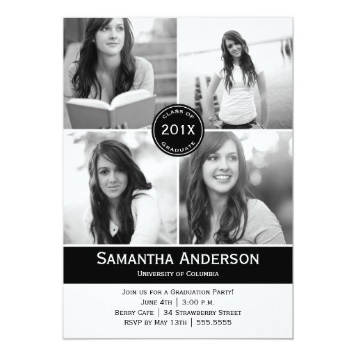 Modern 4 Photo Graduation Invitation - Black