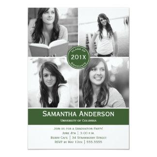 Modern 4 Photo Graduation Invitation - Green