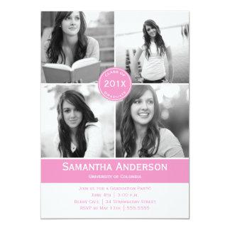 Modern 4 Photo Graduation Invitation - Pink