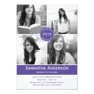 Modern 4 Photo Graduation Invitation - Purple