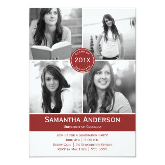 Modern 4 Photo Graduation Invitation - Red